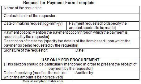 Request for Payment Form, Printable Request for Payment Form ...