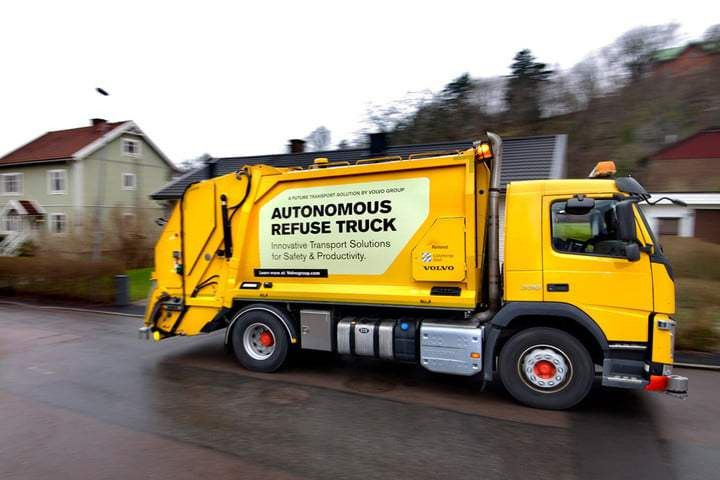 Volvo's new self-driving truck follows trash collectors like a dog