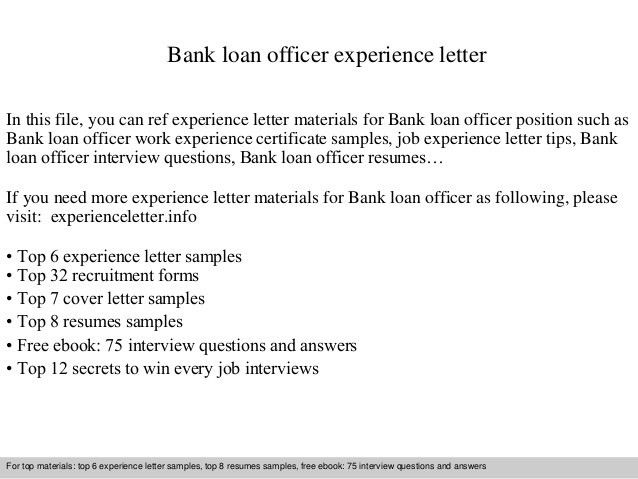 Banking loan resume officer resume example officer resume loan bank loan officer experience letter 1 638g yadclub Gallery