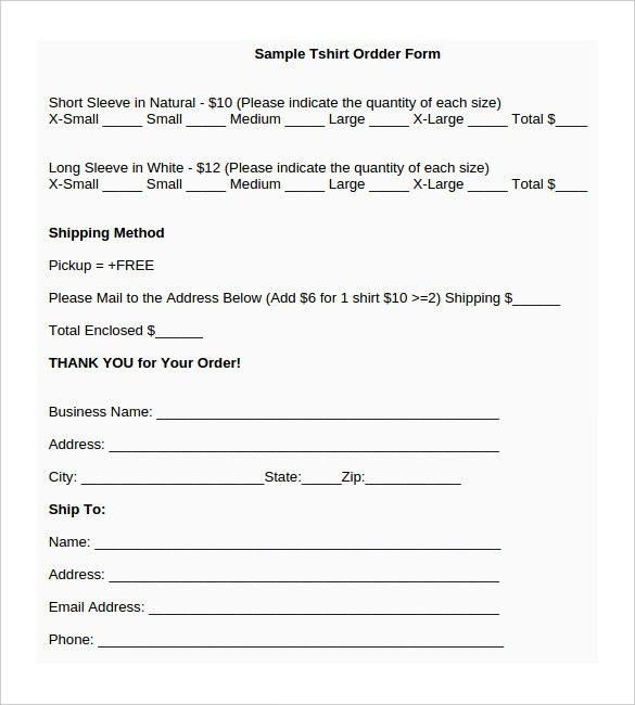 T-Shirt Order Form Template – 21+ Free Word, PDF Format Download ...