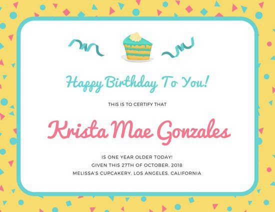 Birthday Certificate Templates - Canva