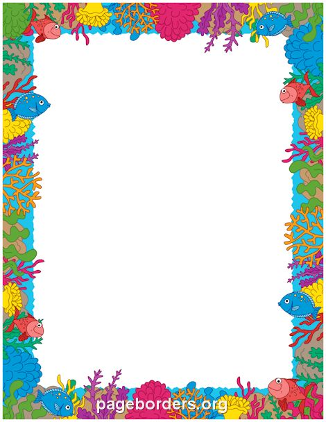 Printable coral reef border. Use the border in Microsoft Word or ...