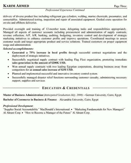 International Sales Resume Example