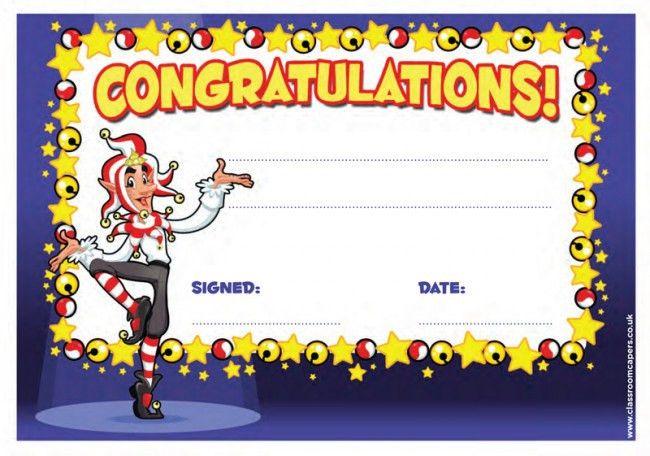 School Certificate | Congratulations Message, Jester Fun Design ...