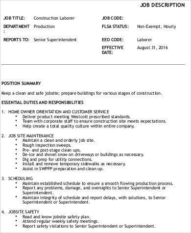 Laborer Job Description Construction Laborer Job Description