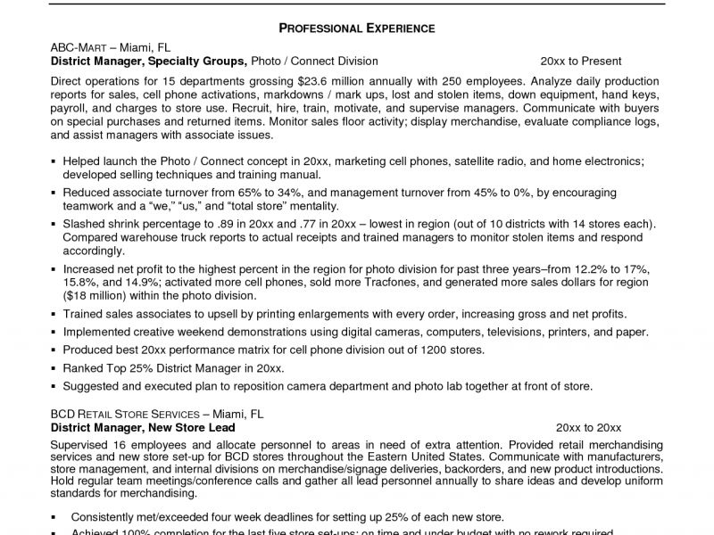 Resume Examples District Manager - Augustais