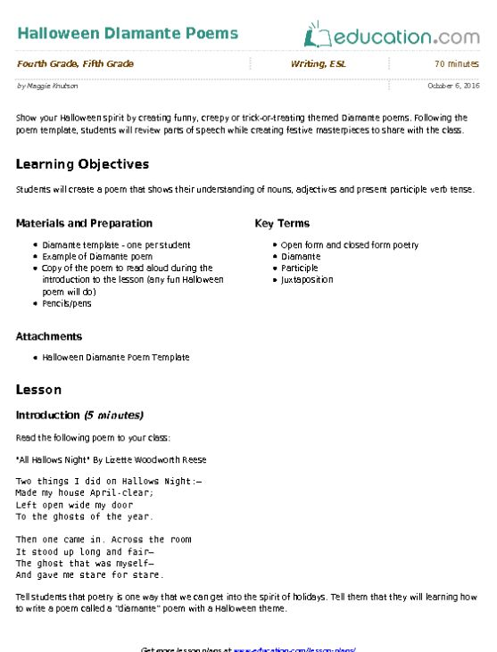 Halloween Diamante Poems   Lesson Plan   Education.com