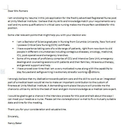 One of the many examples of nursing cover letters has been written ...