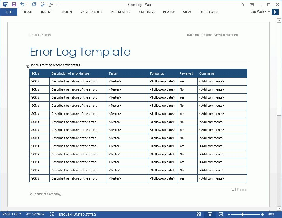 Error Log Template – MS Word – Software Testing