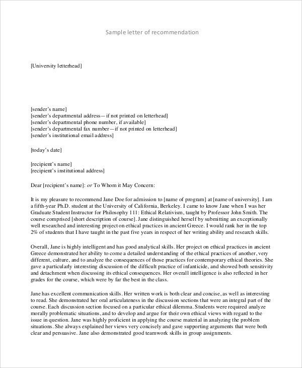 Sample Recommendation Letter Format - 8+ Examples in PDF, Word