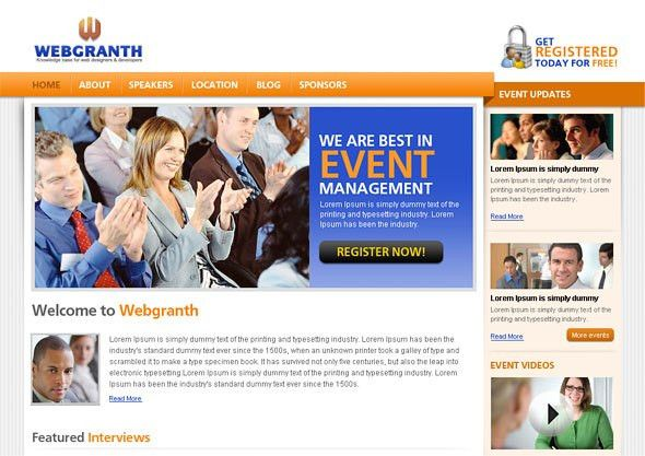 Event Management PSD Template: Free Download PSD Website Template ...