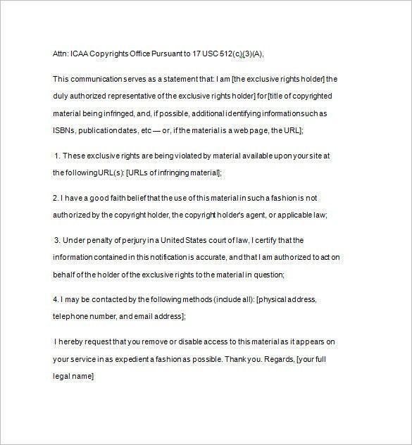 Dmca Template. dmca notice template 12 free word excel pdf format ...
