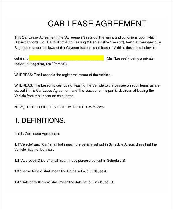 9 Lease Contract Templates   Free Sample, Example, Format Download
