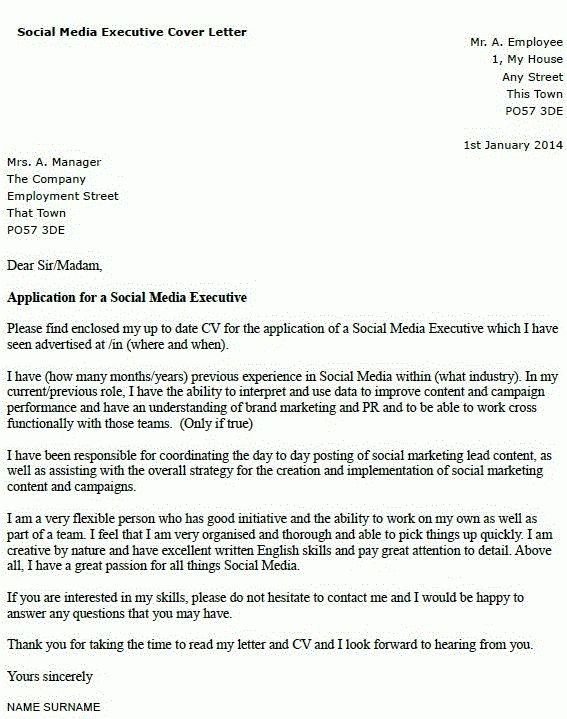 Social Media Executive Cover Letter Example - forums.learnist.org