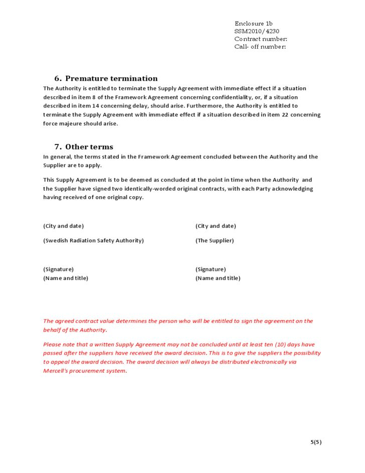Supply Agreement Contract  Resume Template Sample
