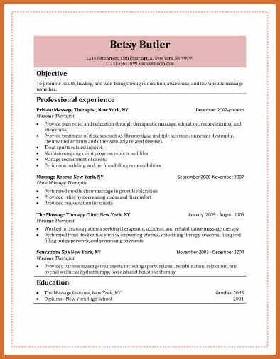 massage therapist resume example | cv examples word