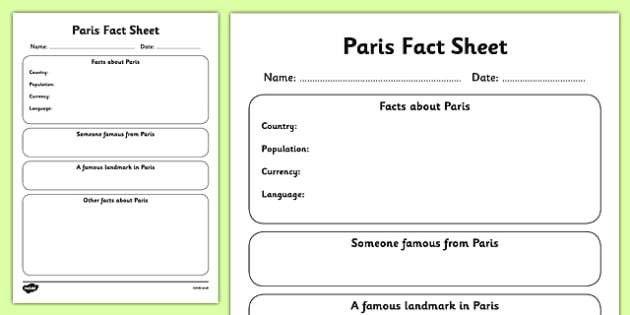 Paris Factsheet Writing Template - paris, paris fact sheet
