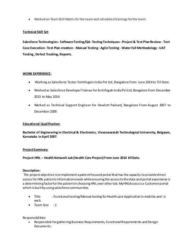 Salesforce Testing Resume