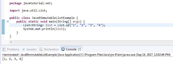 Java 9 Immutable List Example | Java Tutorial Network