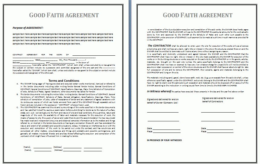 Good Faith Agreement Template | Free Business Templates