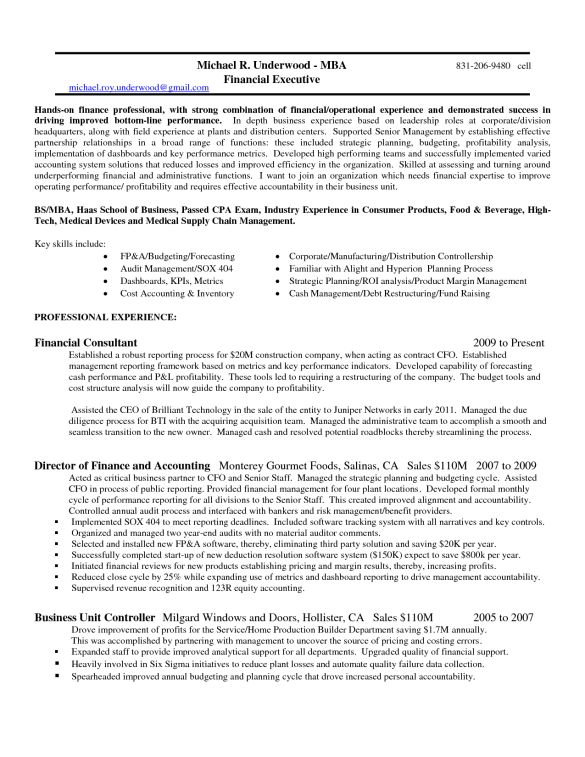 Brilliant Resume Sample for Financial Controller Job Position with ...