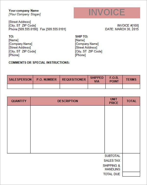 Invoice Template Australia Word | Free Business Template