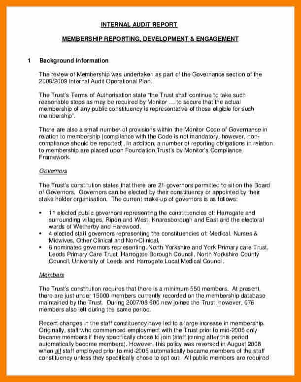 Report Format Example.Paper 2 Membership Audit Report Final ...