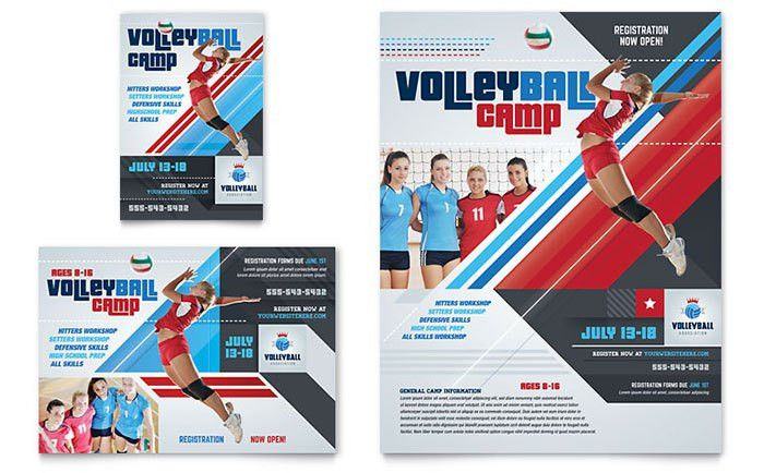 Volleyball Camp Flyer & Ad Template Design