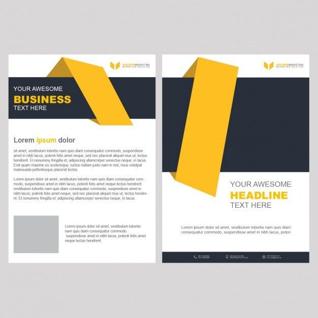 Yellow business brochure template with geometric shapes PSD file ...