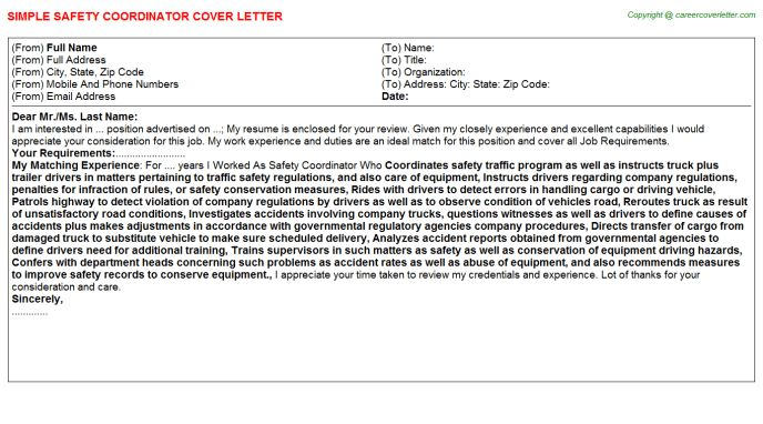 Safety Coordinator Cover Letter