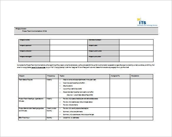 7+ Project Communication Plan Templates – Free Sample, Example ...