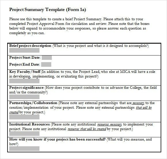 Sample Project Summary Template - 8+ Free Documents in PDF , Word ...