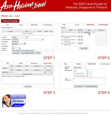 Asiaholidays.travel - B2B Online Reservations System