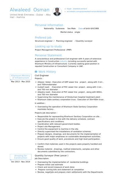 Civil Engineer Resume samples - VisualCV resume samples database