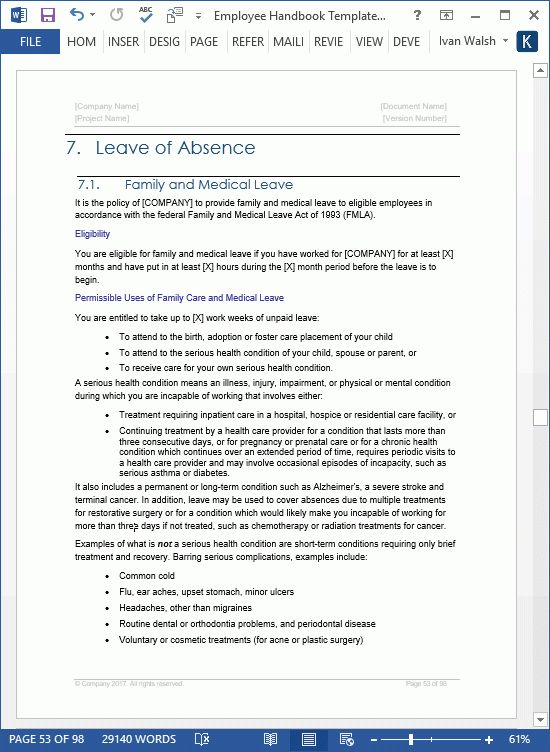 Employee Handbook Template - Download 100 pg MS Word templates & Excel