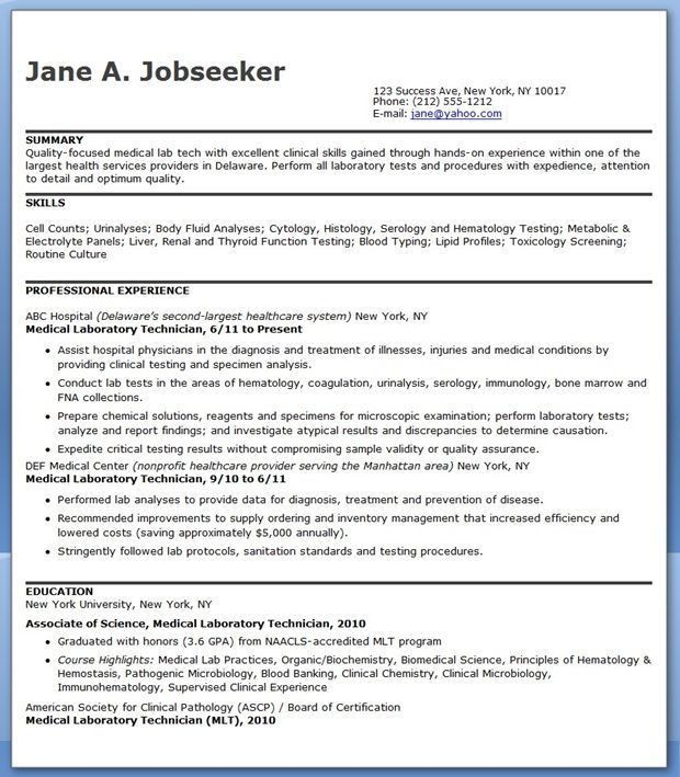 Best Letter Samples: CLINICAL LABORATORY TECHNICIAN RESUME