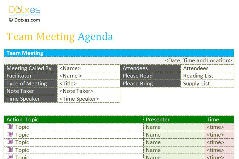 Team meeting agenda template - Dotxes