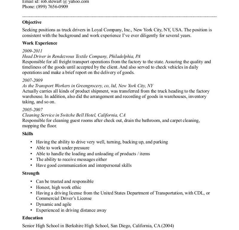 Examples Of Resumes For Truck Drivers - Resume CV Cover Letter