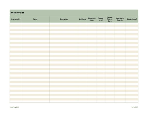 Inventory List Excel Spreadsheet Template Sample : Helloalive