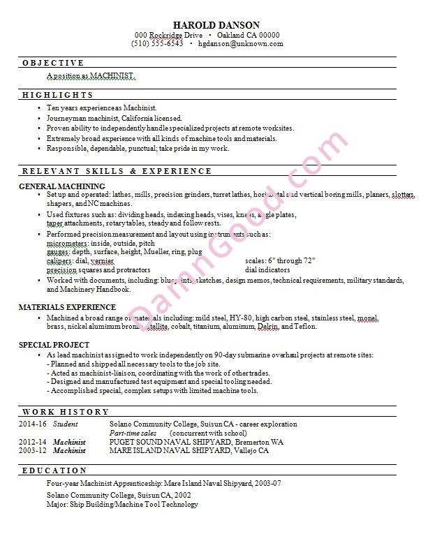 Resume Sample: Machinist