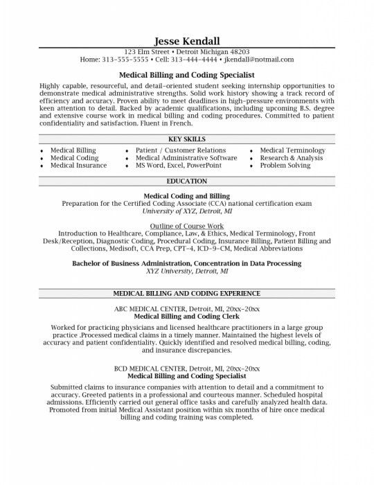 The Most Brilliant Medical Billing And Coding Resume | Resume ...