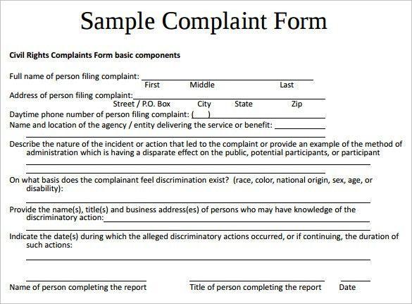 Sample Civil Complaint Form civil complaint template resume