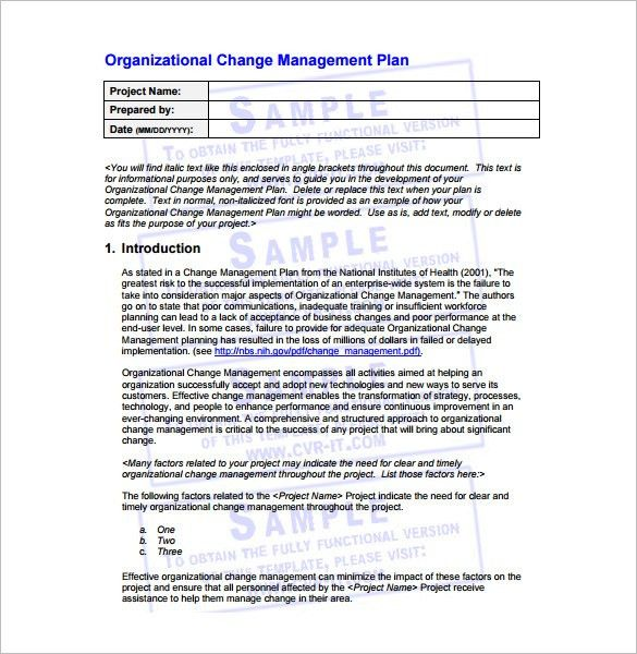 Change Management Plan Template – 6+ Free Word, PDF Documents ...