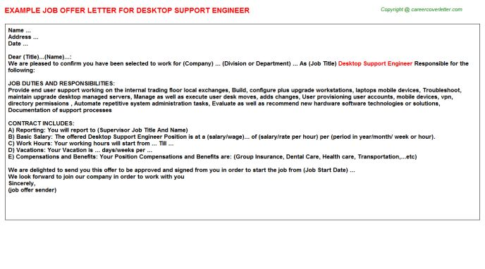 Desktop Support Engineer Offer Letter