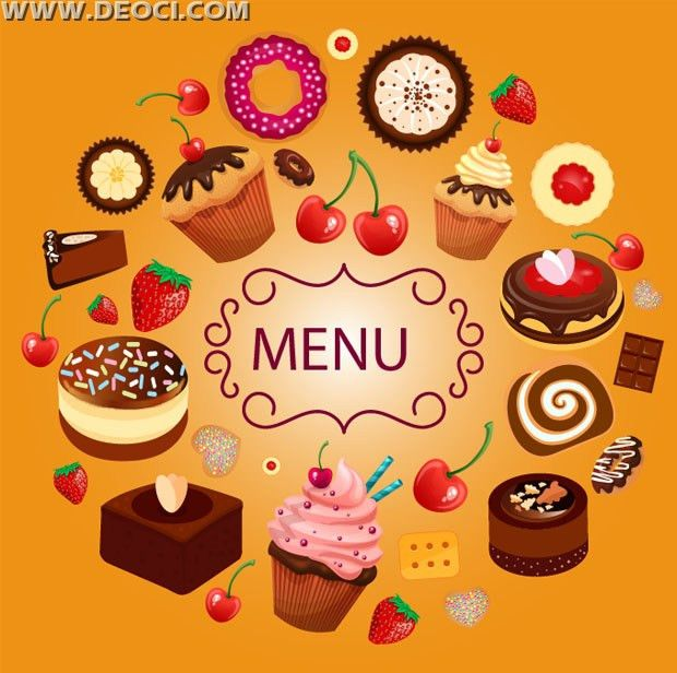 Vector cartoon dessert menu design template EPS free download ...