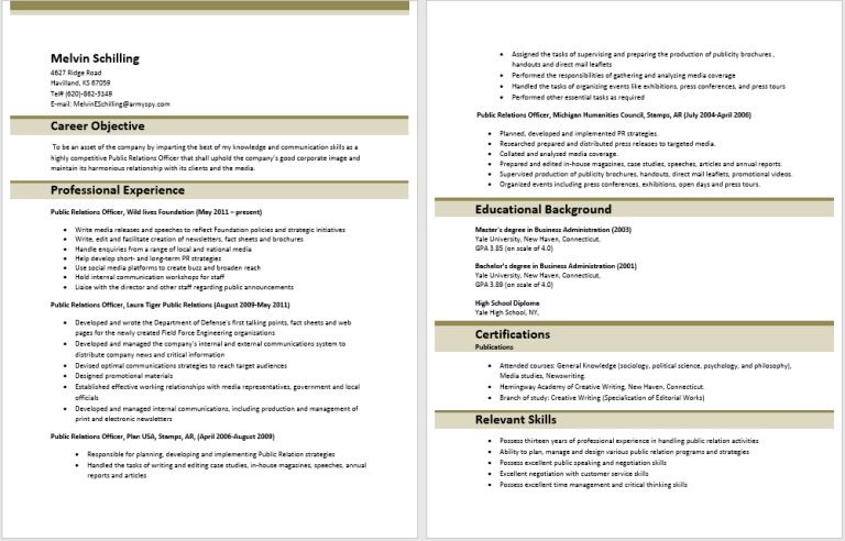 Free Sample Public Relations Resumes | Sample Format