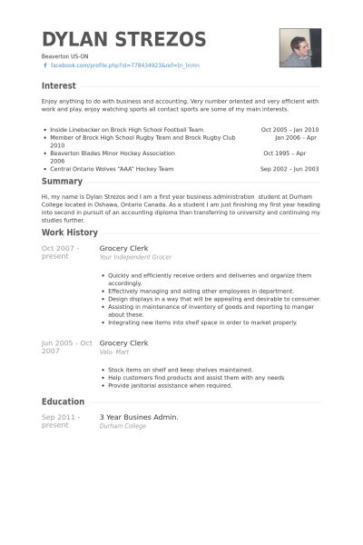 Grocery Clerk Resume samples - VisualCV resume samples database