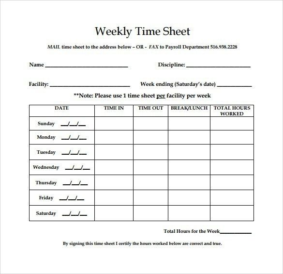 Blank Timesheet Template. 5+ Employee Timesheet Template ...