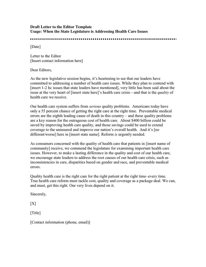 Letter to the Editor Example - download free documents for PDF ...