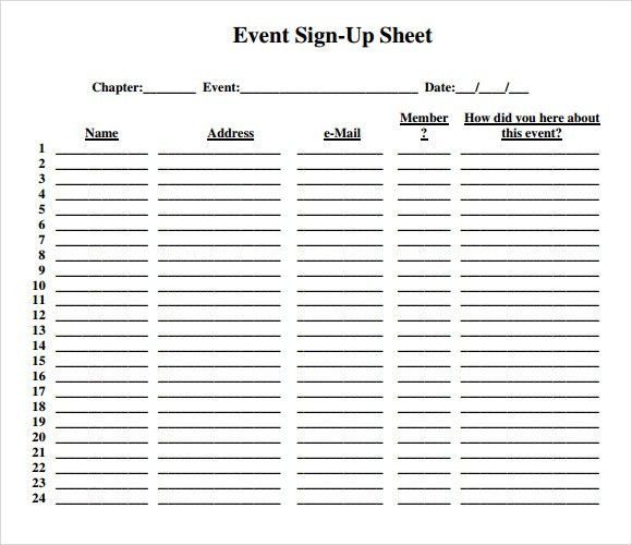 Sample Sign Up Sheet - 8+ Example, Format